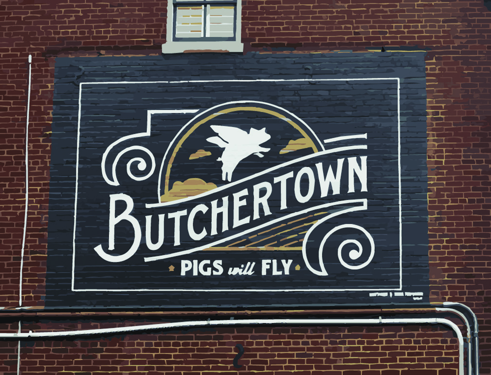 butchertown logo mural